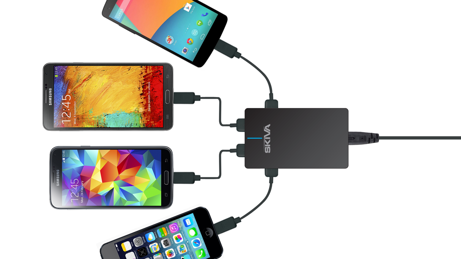 Universal 4 ports USB charger for iPhone, iPad, Android and other USB devices. Intelligent device detection for optimal charging.