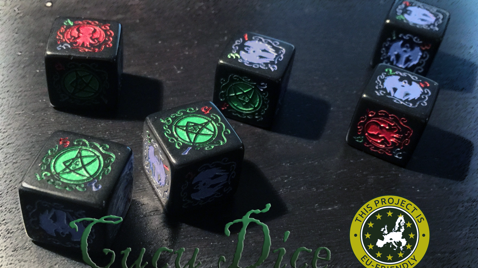 These are self designed custom dice for binary resolutions such as in Arkham or Eldritch based Lovecraftian horror games.