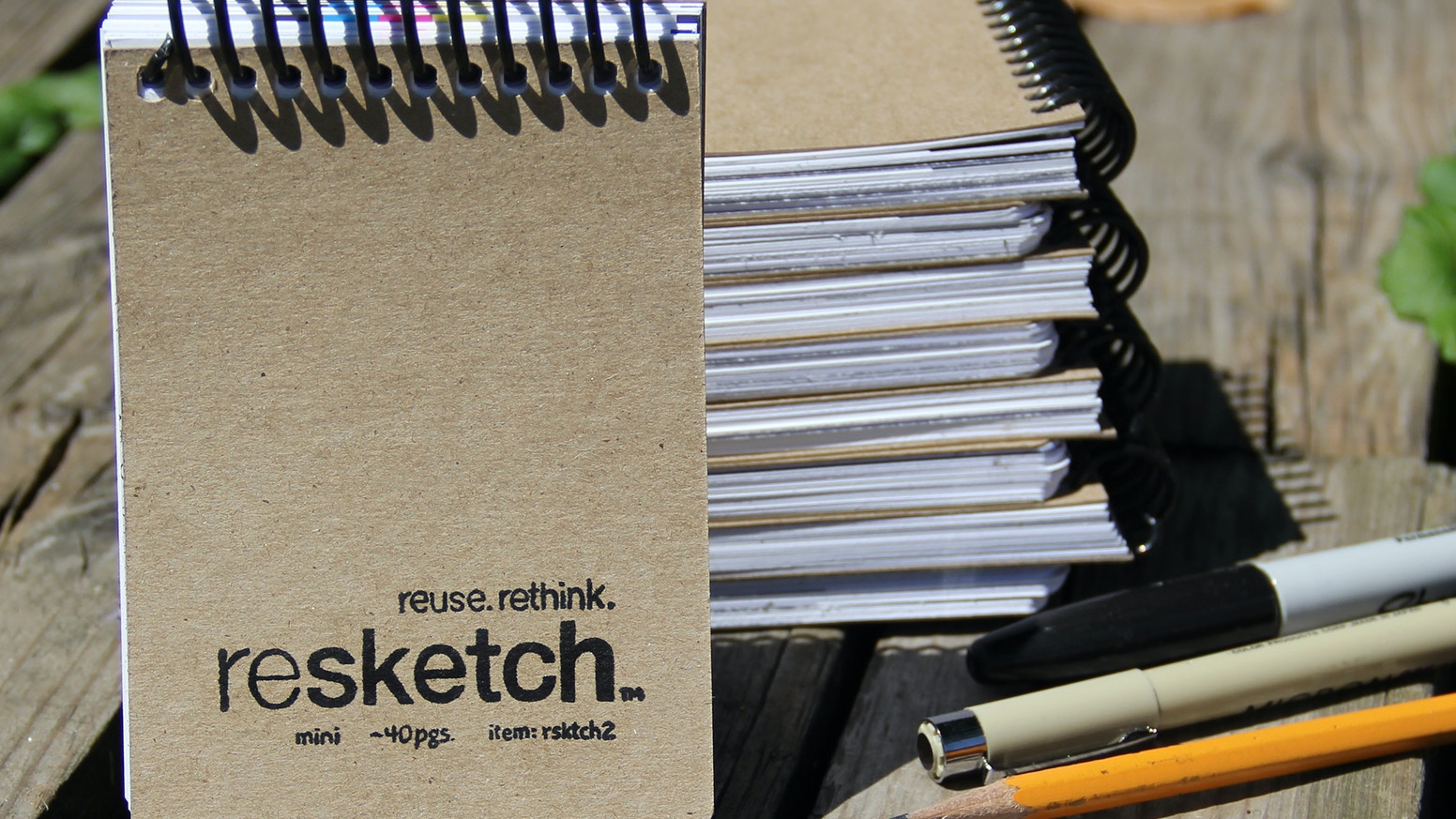 Handy pocket-sized notepads for ideas, sketches, words, and more, made from high-quality reclaimed paper.