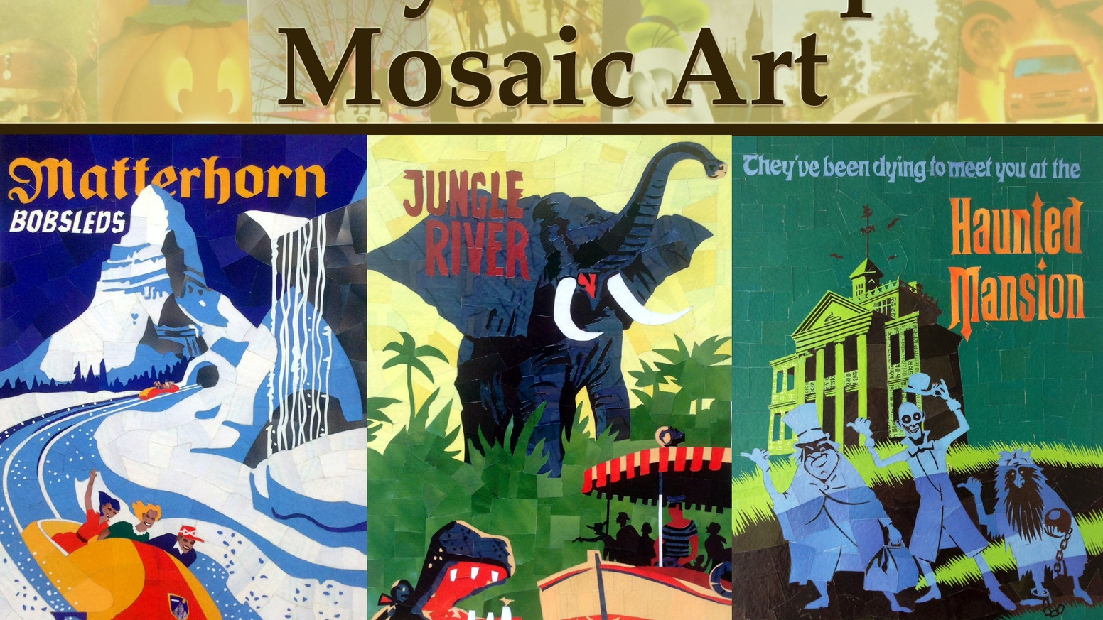 disneyland attraction posters recreated into paper mosaics by brad