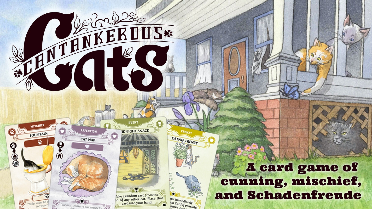 A ferocious feline card game filled with cunning, mischief, and schadenfreude for 2-6 Hoomins!
