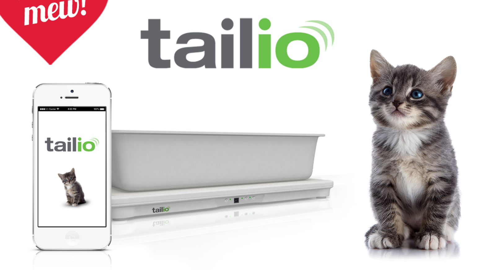 Tailio turns your cat's litter box into a smart monitor. Device rests under box, detects signs of trouble, mobile app alerts & tools