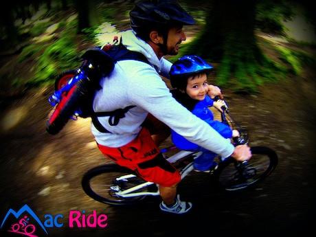 mac ride a unique child seat for adult mountain bikes by glen dobson kickstarter. Black Bedroom Furniture Sets. Home Design Ideas