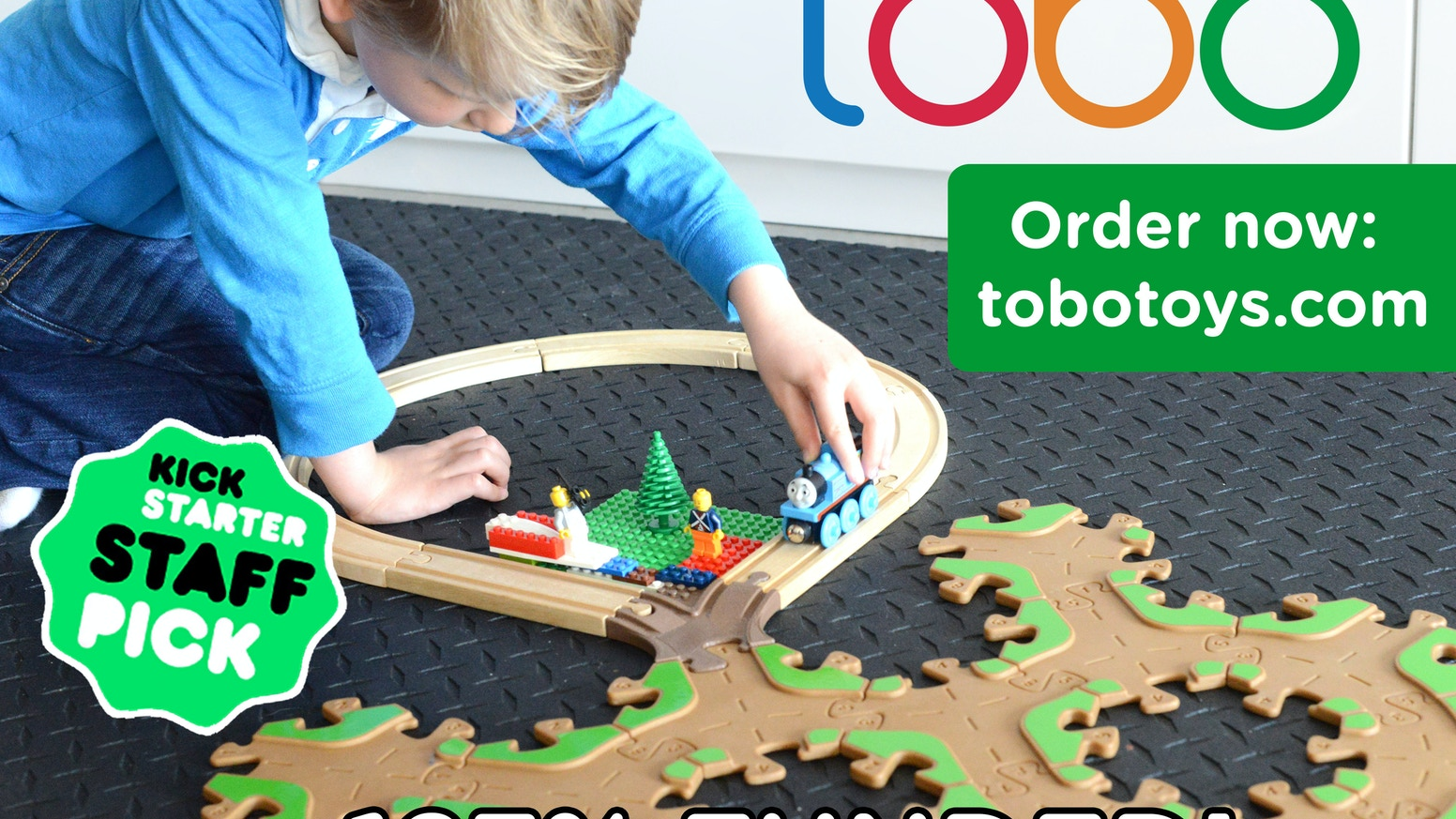 Wood toy vehicle tracks - Creative & fun while being safe & eco-friendly.  An adapter links Tobo to LEGO® and Thomas™! www.tobotoys.com