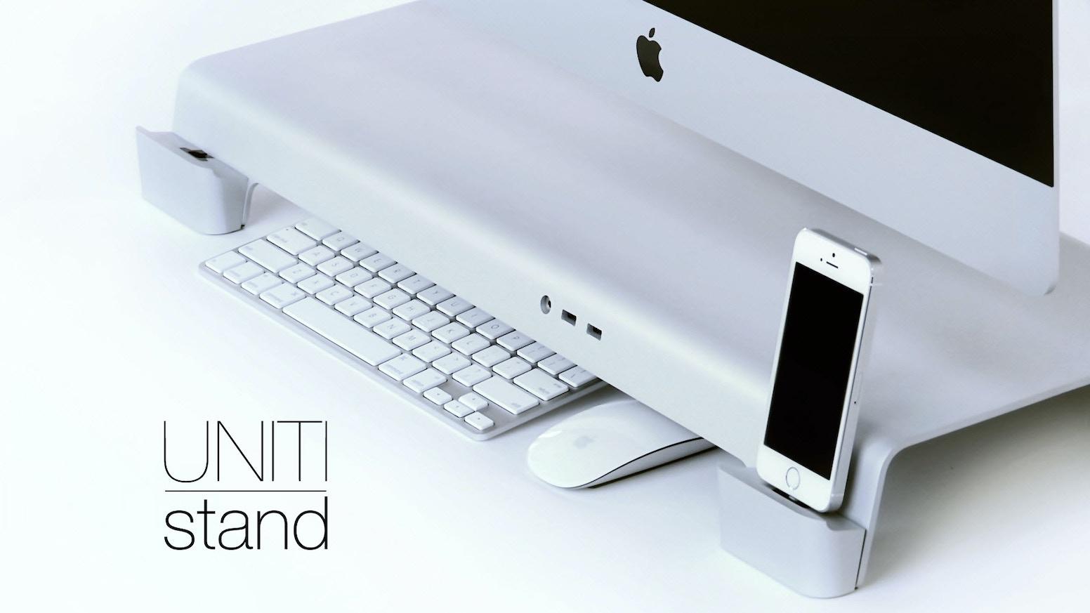 uniti stand for imacs apple displays organize your desk by iforte kickstarter. Black Bedroom Furniture Sets. Home Design Ideas