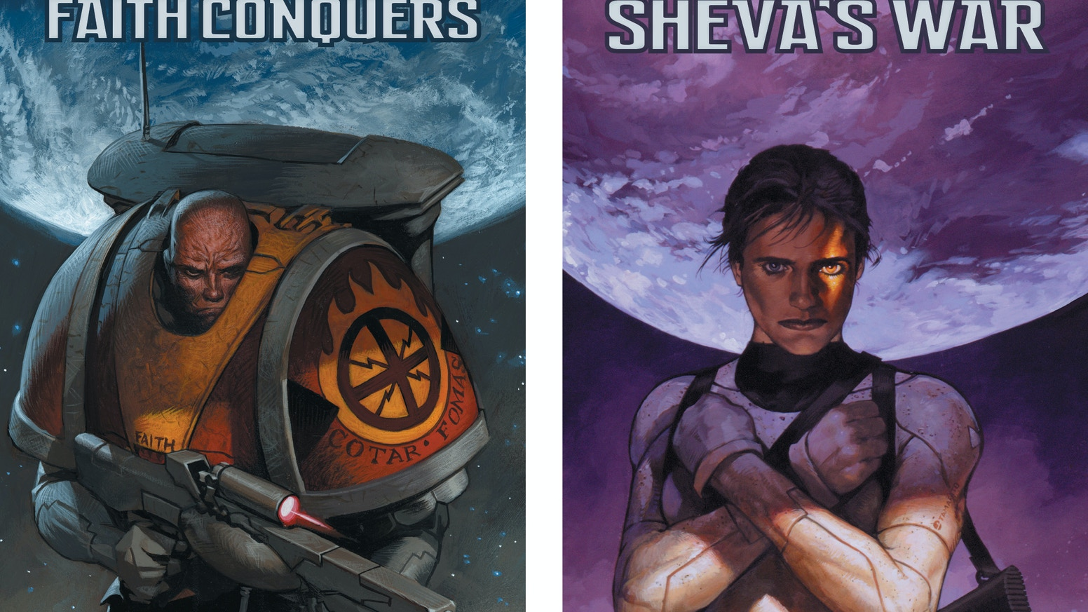 New hardcover editions of the Iron Empires series: Faith Conquers and Sheva's War