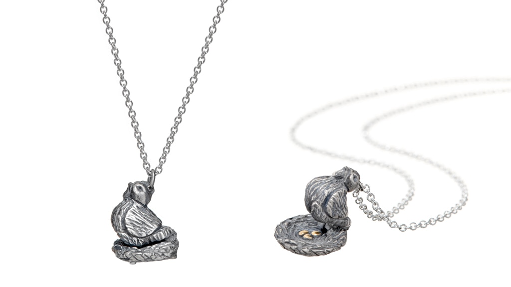 """Project image for Pre-Order Sterling-Silver """"Chicken on Nest"""" Necklace"""