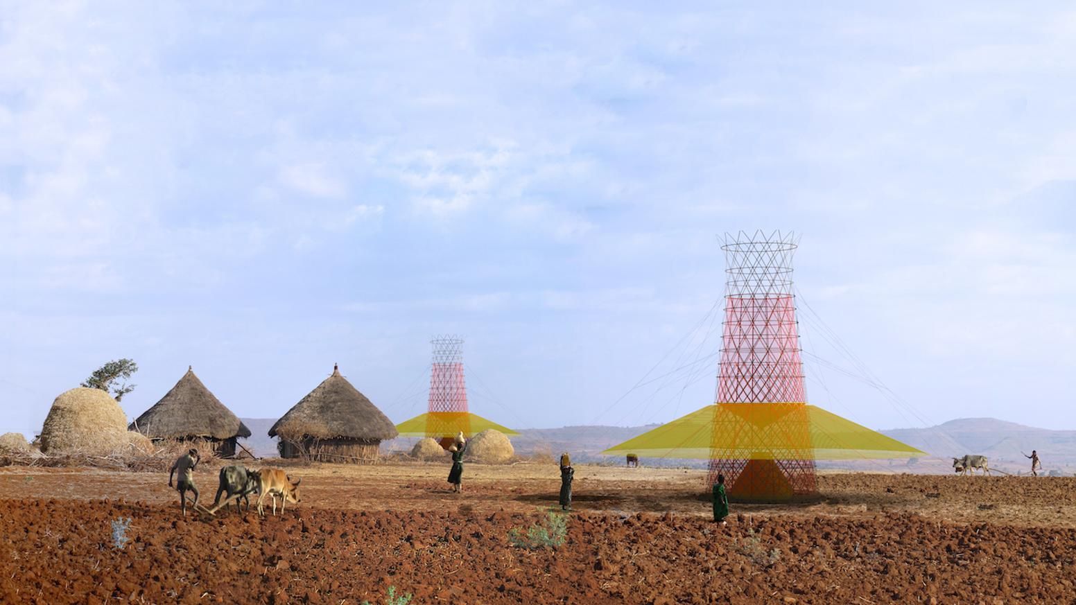 Warka Water captures potable water from the air by collecting rain, harvesting fog and dew for rural communities in Ethiopia.