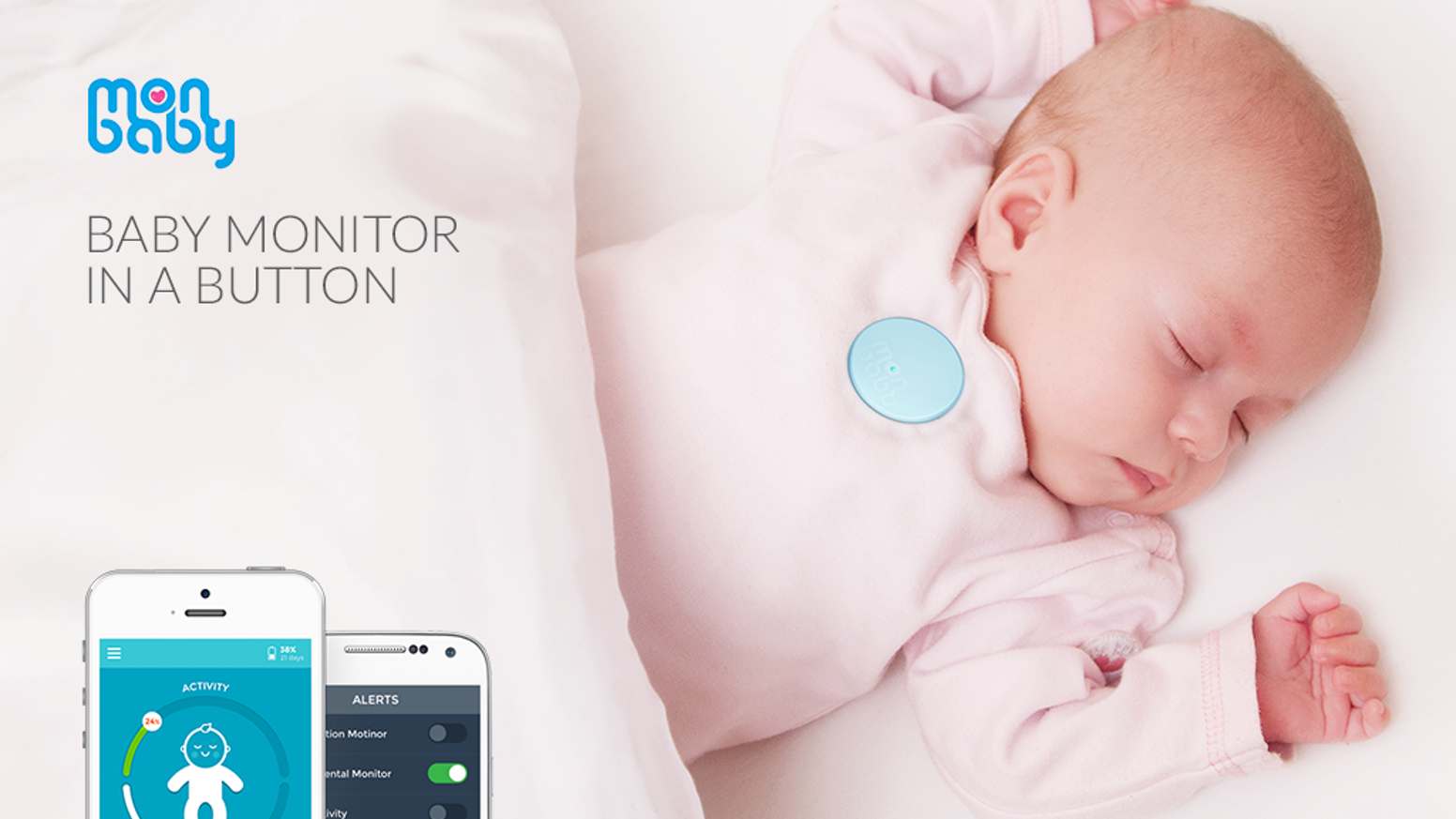 MonBaby is a wearable baby monitor that tracks your child's breathing, movement and sleep patterns on an iPhone/Android app.