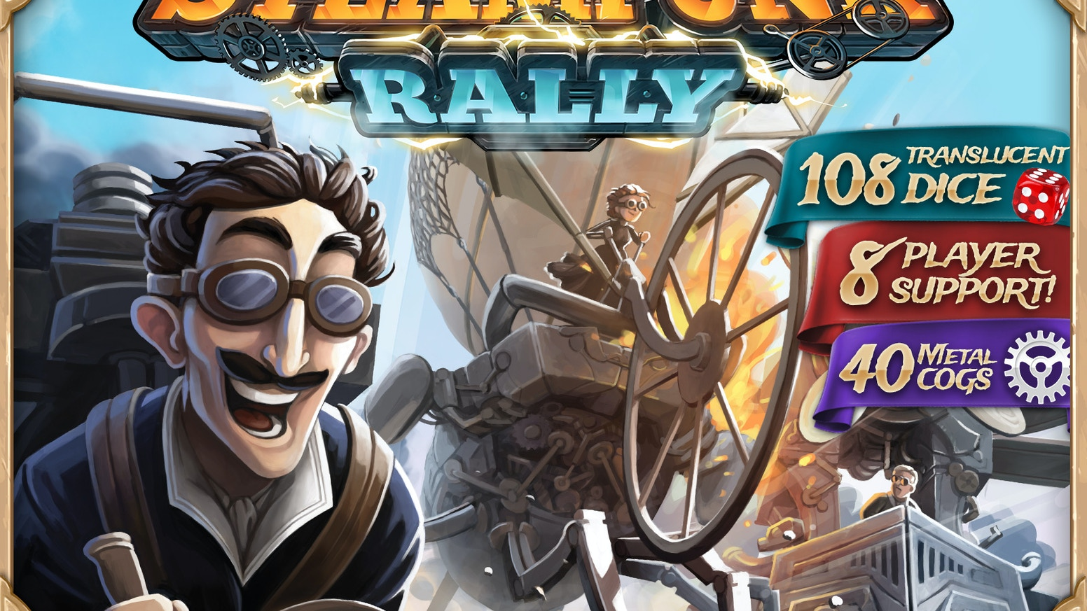 Finally! A true steampunk game featuring 108 dice, 16 famed inventors, and unique dice-placement & card-drafting mechanics.