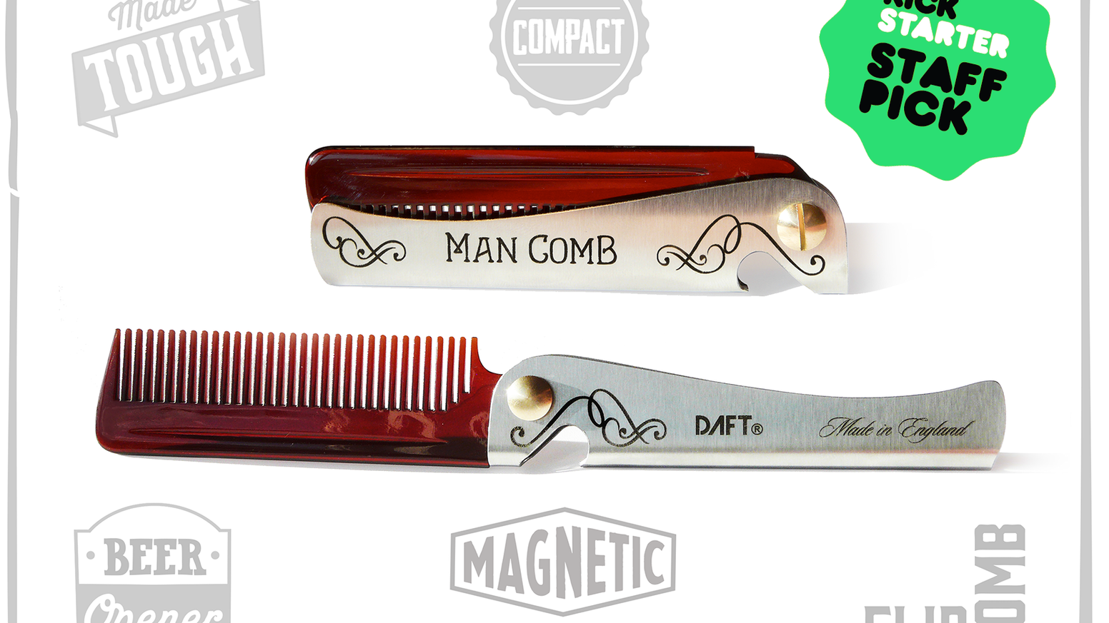 A tough & compact flip comb. The ultimate tool for your hair & beard... Custom options available.
