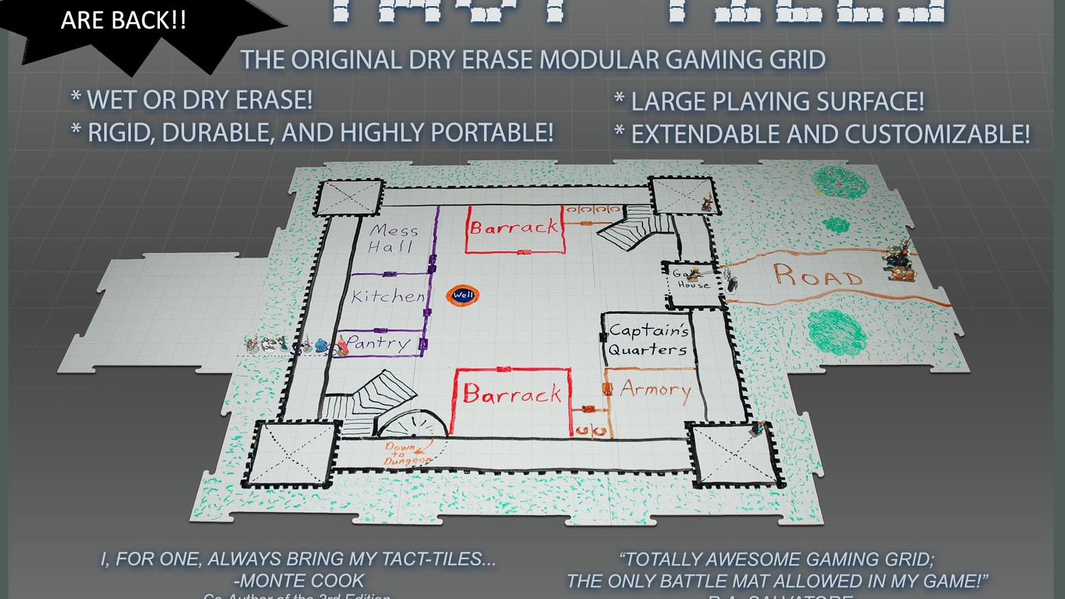 The original modular, expandable, versatile, wet and dry erase gaming surface for miniatures and role-playing games.