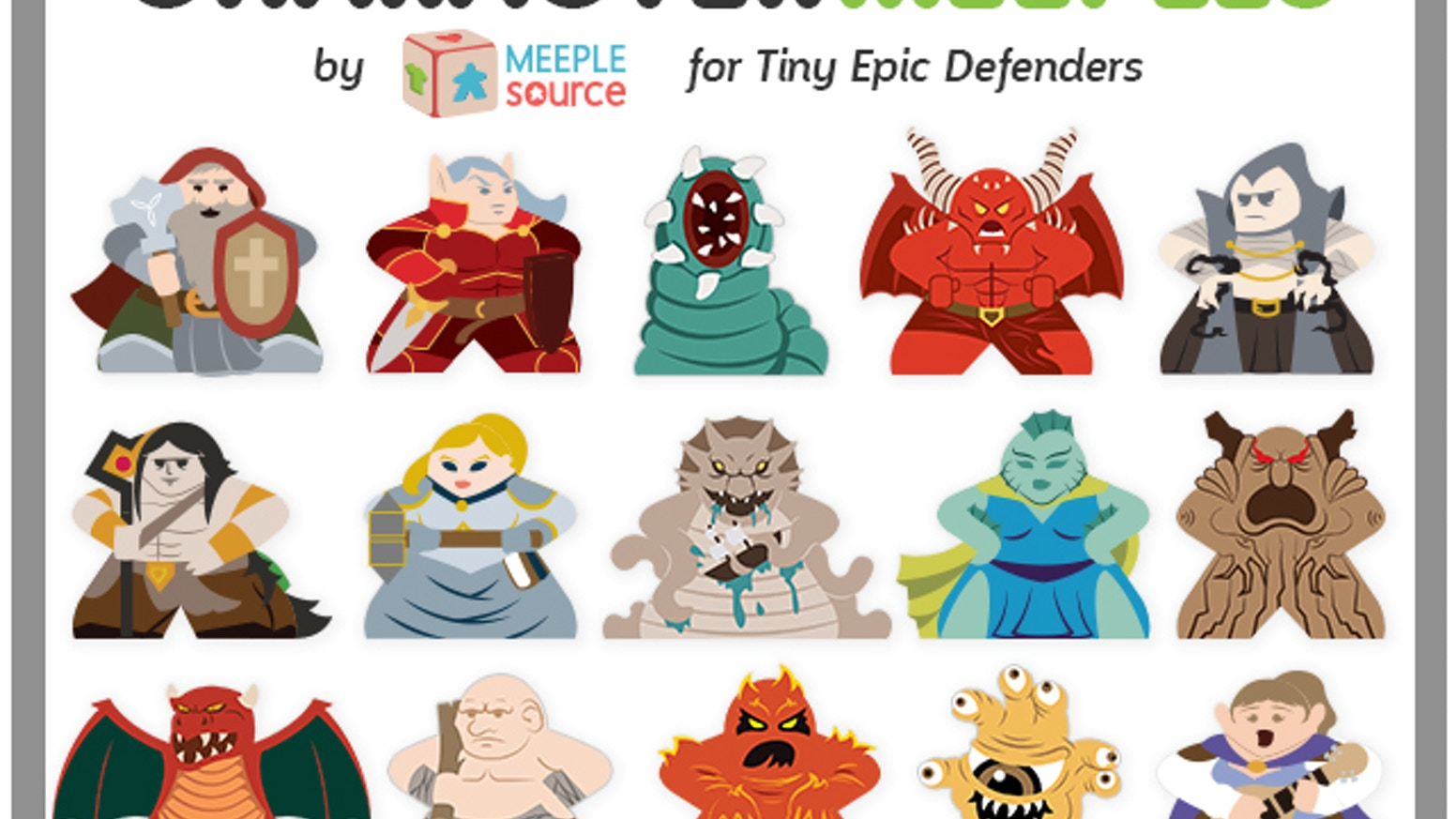 Meeple Source is back, with a Character Meeple set for Tiny Epic Defenders by Gamelyn Games - 15 Heroes and 8 Epic Foes!