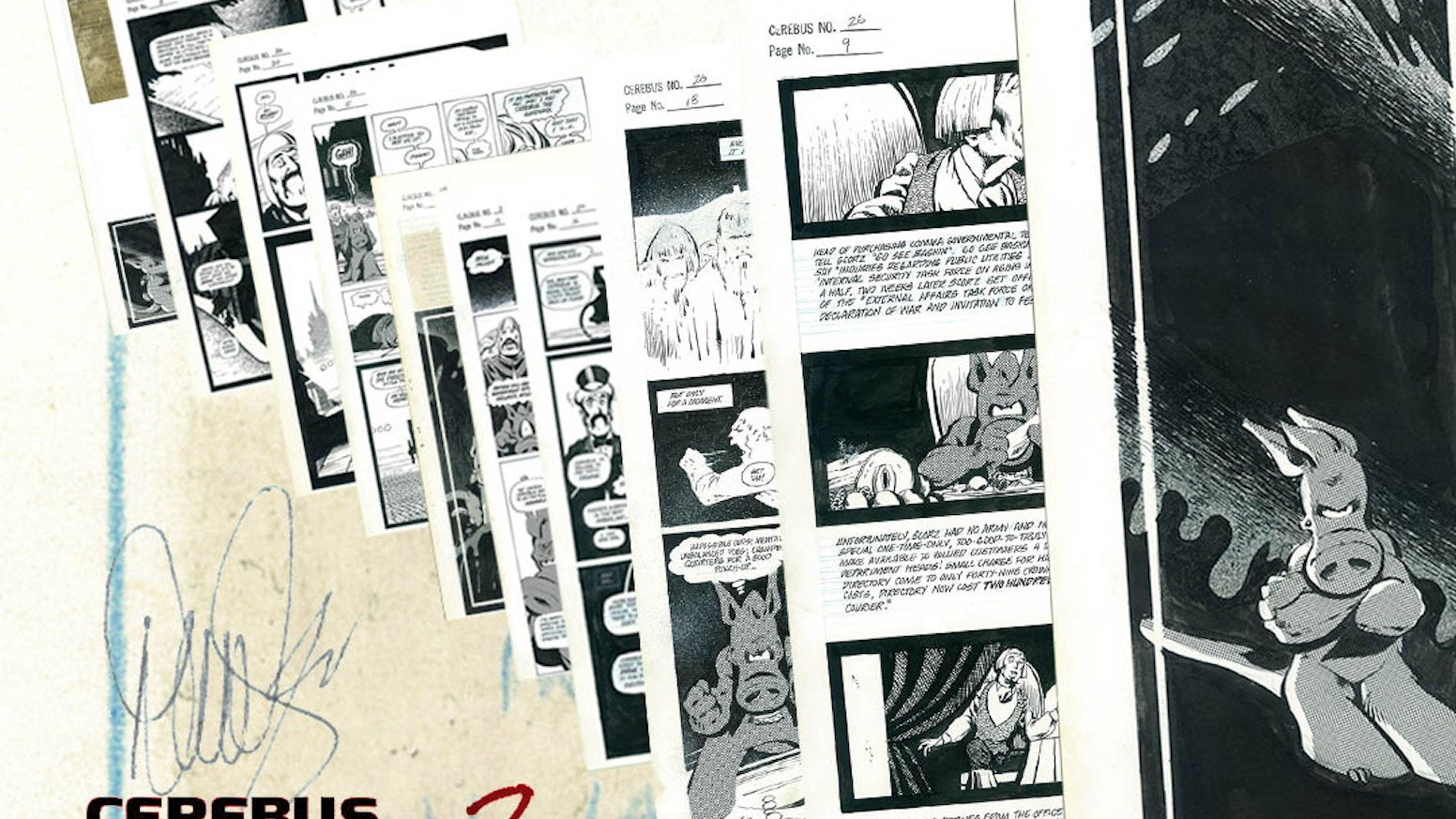 A FOLIO OF THE TEN EARLIEST HIGH SOCIETY PAGES IN THE CEREBUS ARCHIVE WITH COMMENTARY BY DAVE SIM.