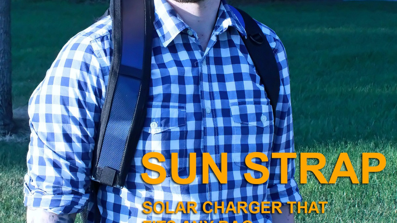 Flexible solar panel that fits around any bag strap and charges any USB device like your smartphone, tablet or camera.