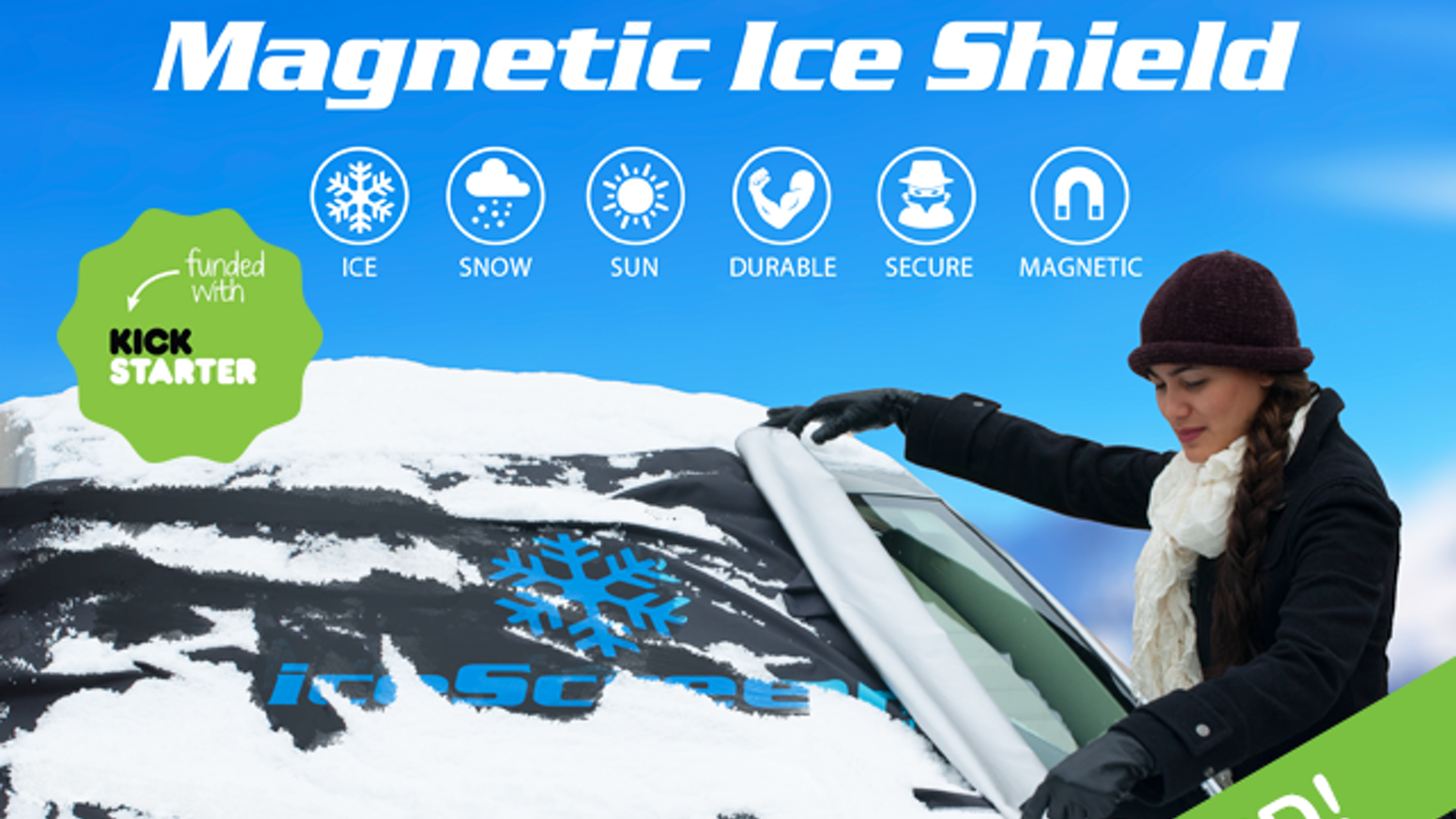 Clear your windshield of ice & snow in seconds with the iceScreen™ magnetic ice shield!