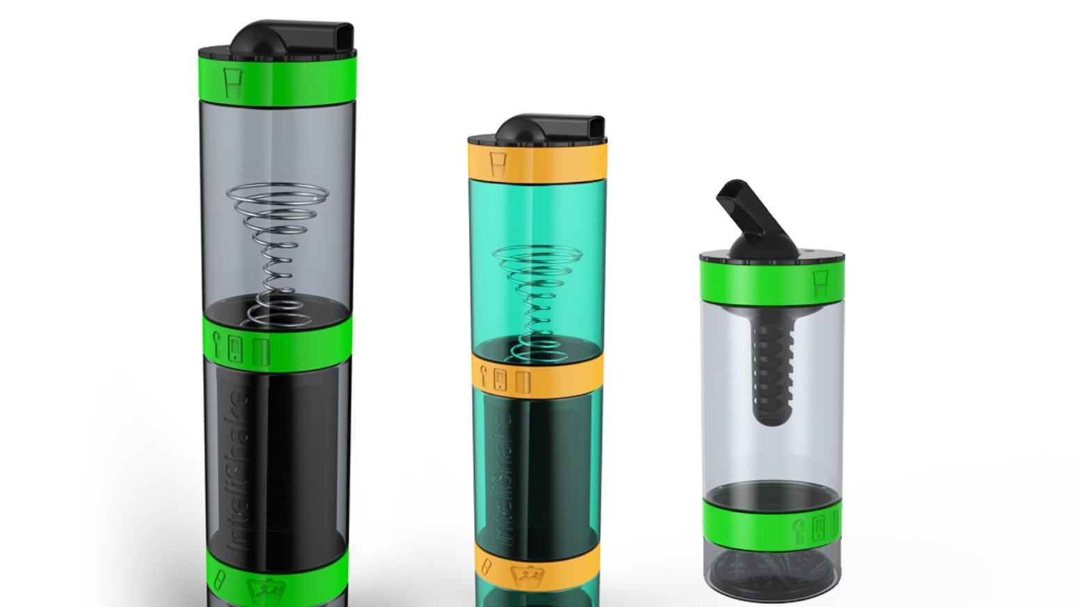 Multi-compartment Drinks shaker Bottle + Filter. Cool,Clever & Stylish for Hydration,Nutrition & Personal Storage for fitness & Sports!