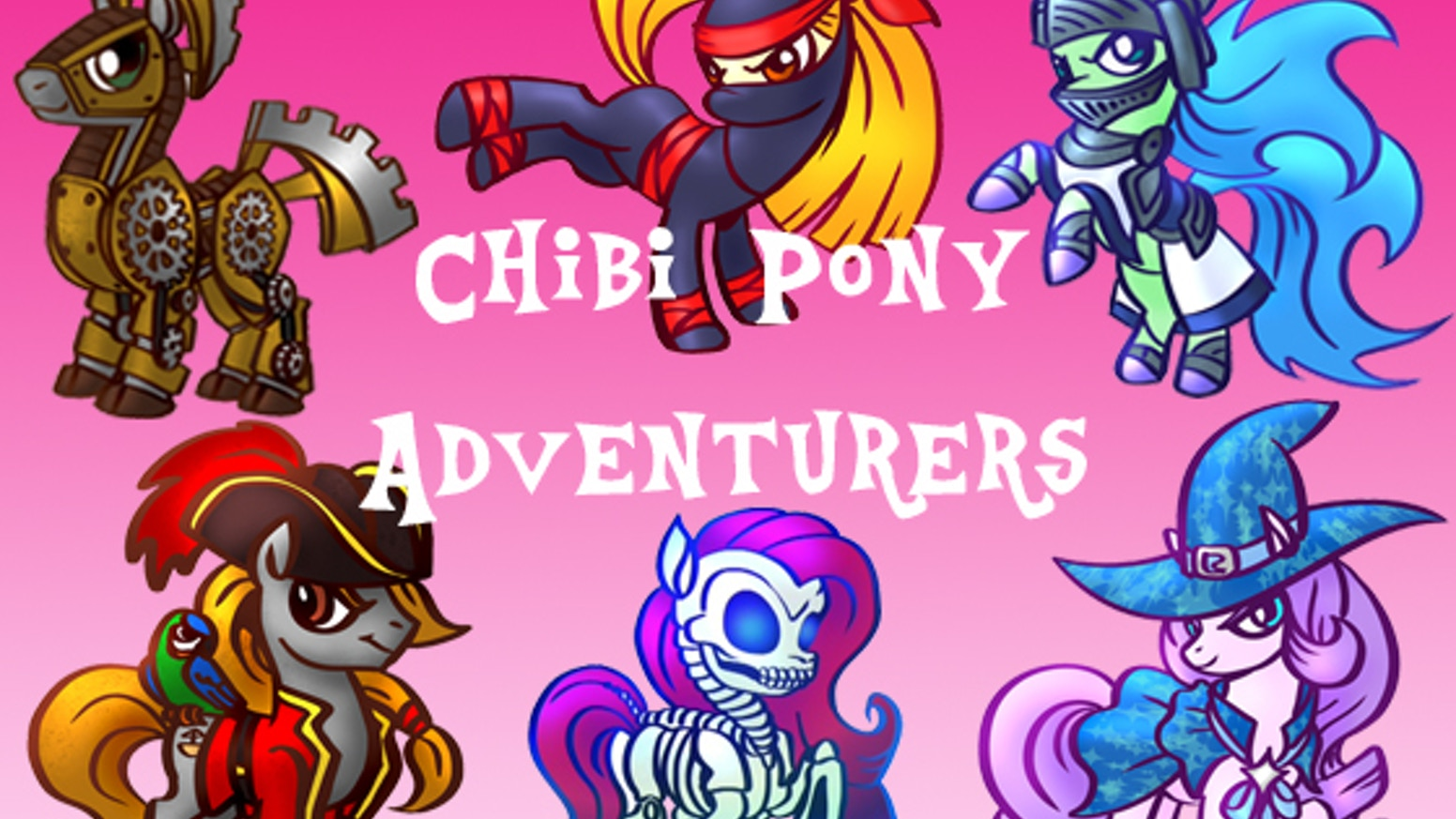 A miniatures line of pony fantasy adventurers and monsters in chibi anime style.