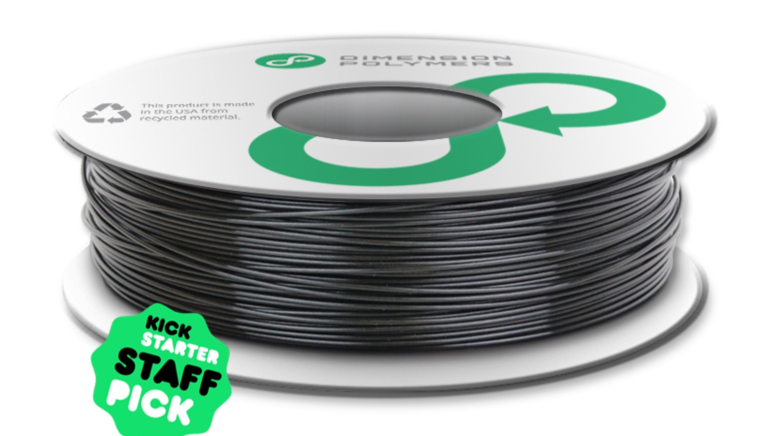 Dimension Polymers has created the first professionally engineered 3D printing filament made from recycled plastic