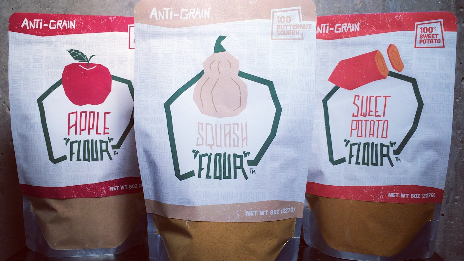 Flours made solely out of domestically grown fruits and vegetables. Made in the U.S.A. Grain-free. Gluten-free. Allergen-Free. Non-GMO.
