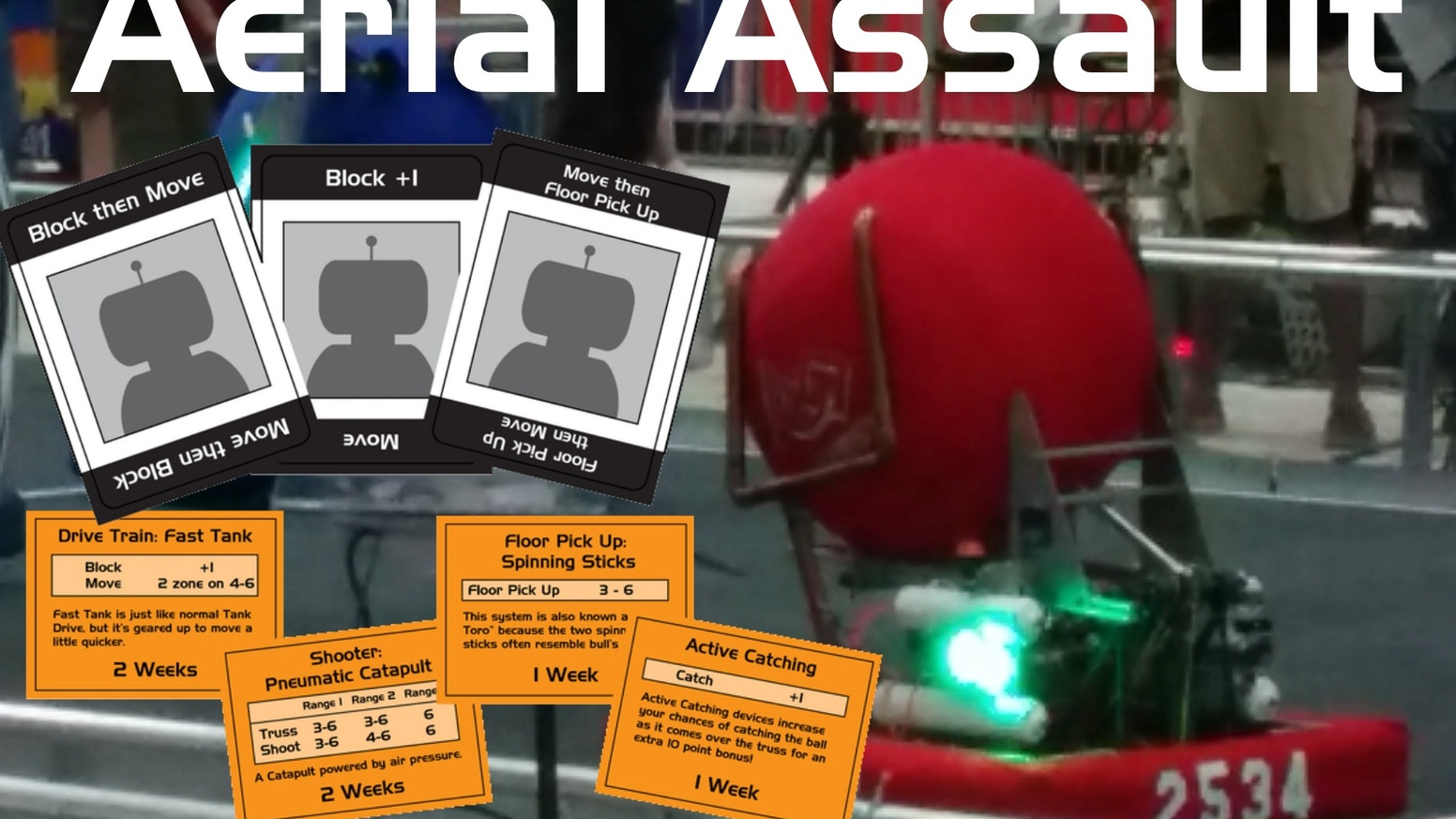 Design, build, and test a robot.  Compete to win in this new card game based on a real life robotics competition!
