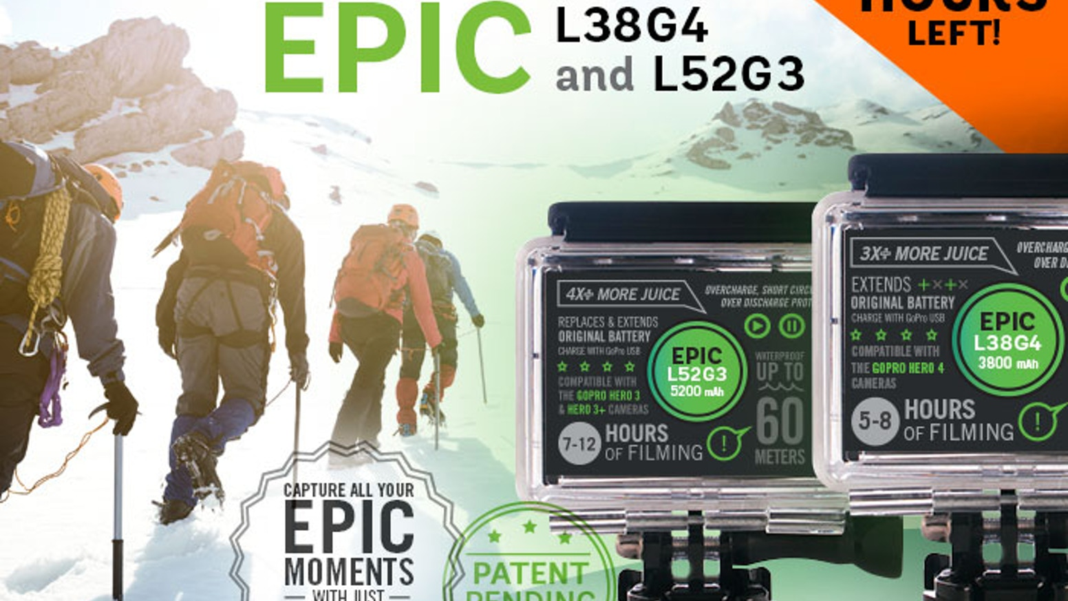Triple the battery life of your GoPro Hero 4 and Hero 3/3+. Capture all your Epic moments with just one battery! (Patent Pending)