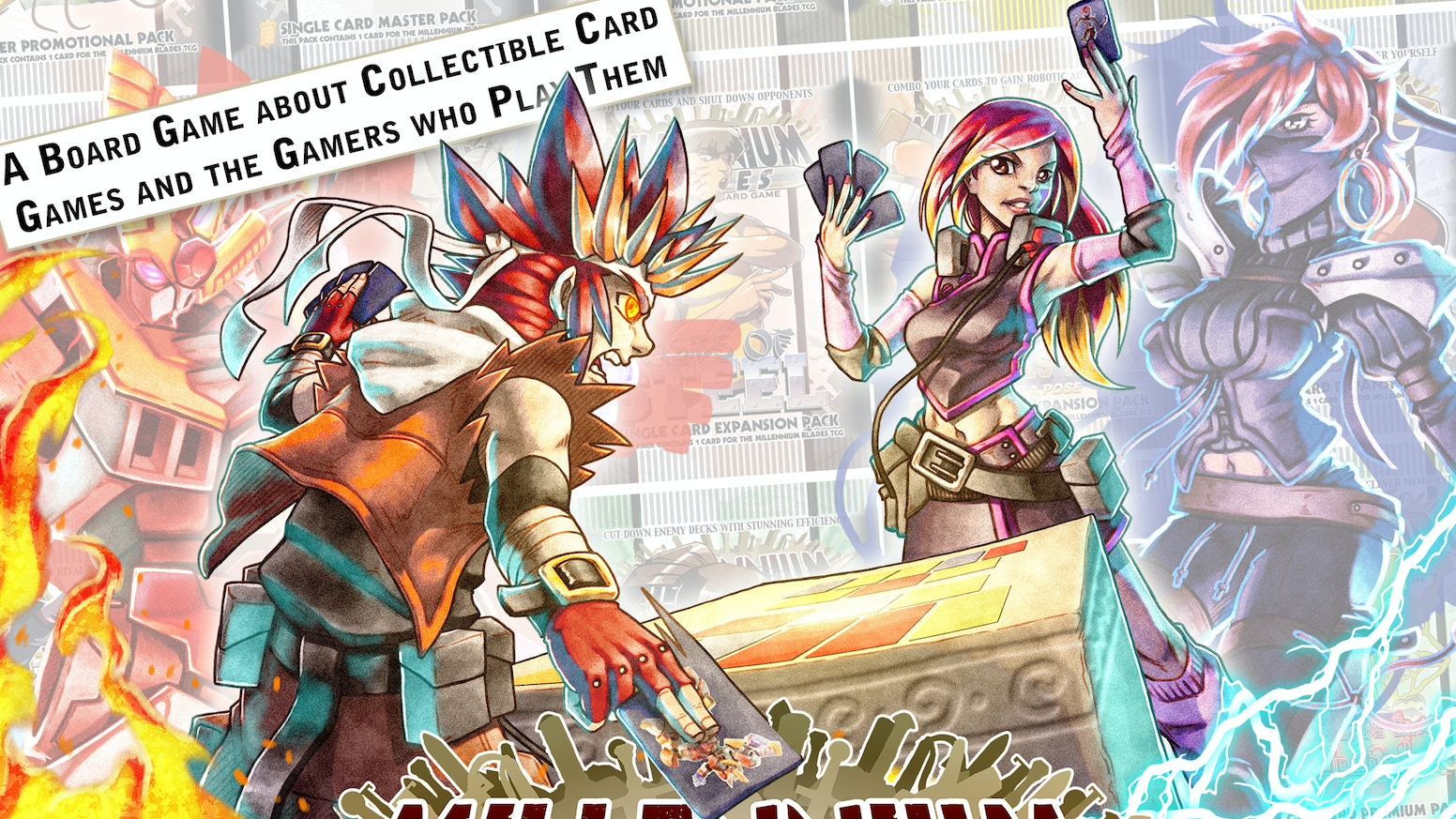 Millennium Blades is a Board Game about a group of friends who play a Collectible Card Game called Millennium Blades.