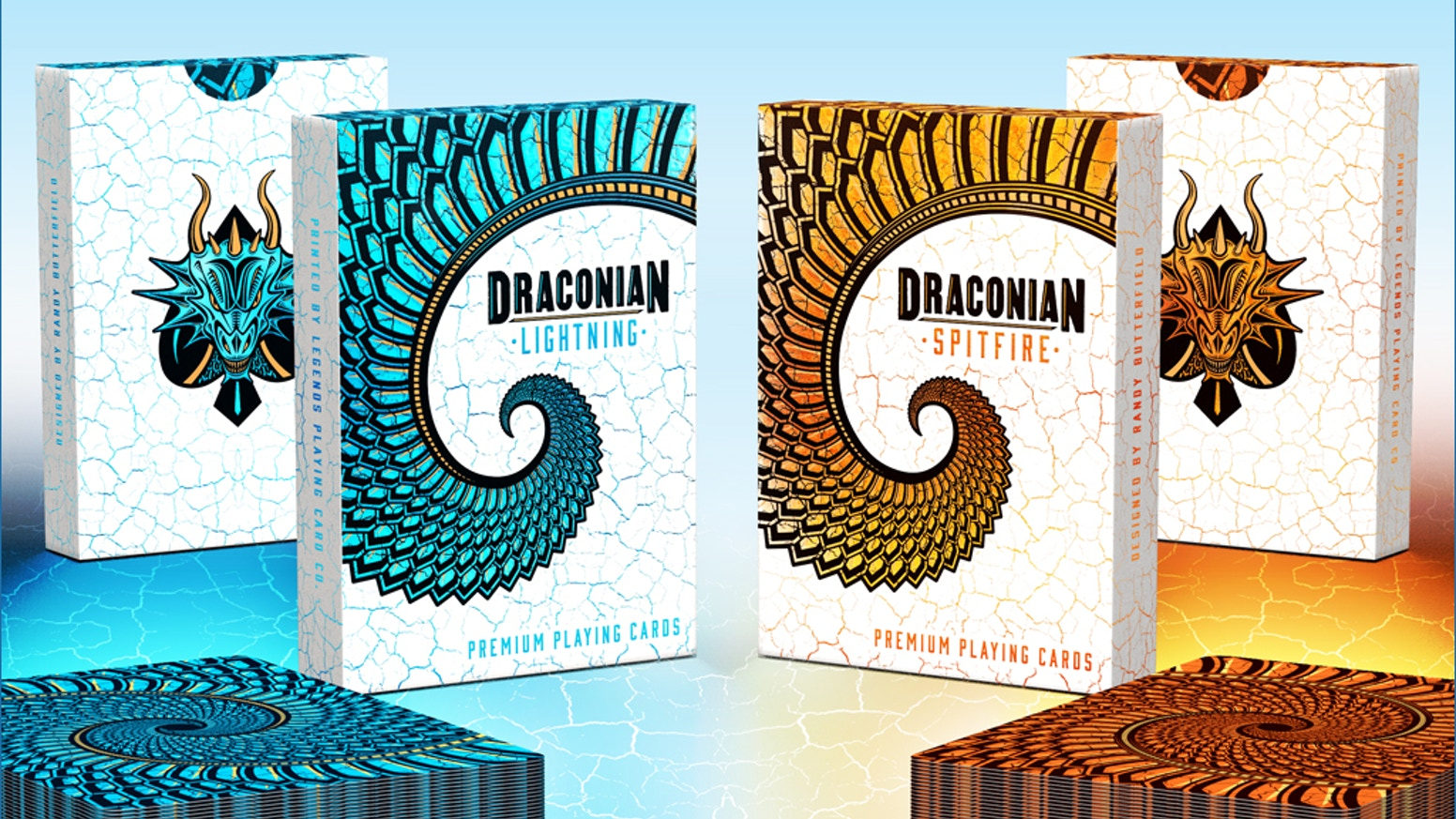 Inspired by the Dragons of lore, Draconian Spitfire and Lightning are a premium pair of custom Playing Cards.
