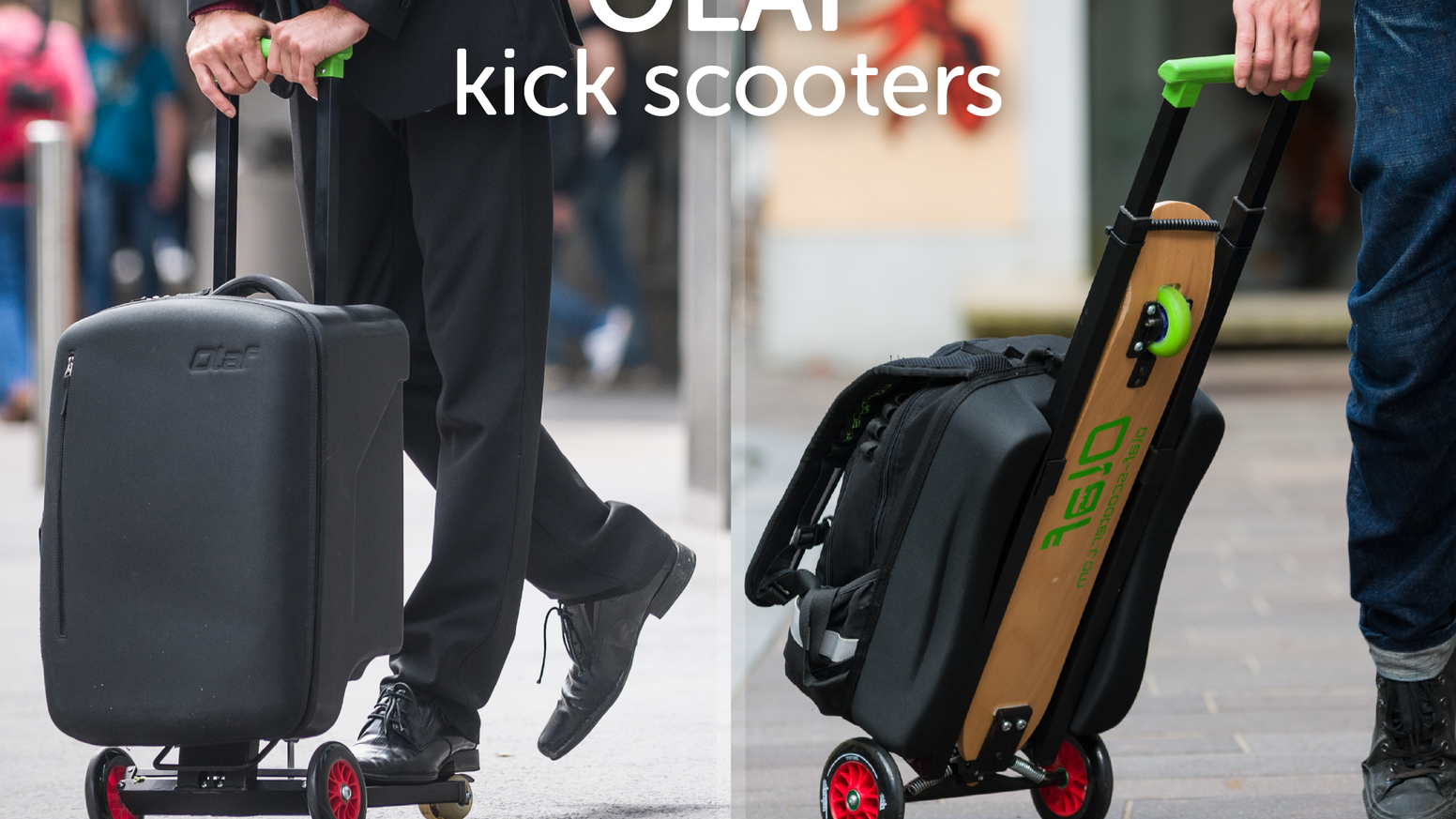 OLAF upgrades your travel experience. It's a carry-on kickscooter (3 in 1 BUSINESS) or a backpack kickscooter (4 in 1 URBAN).