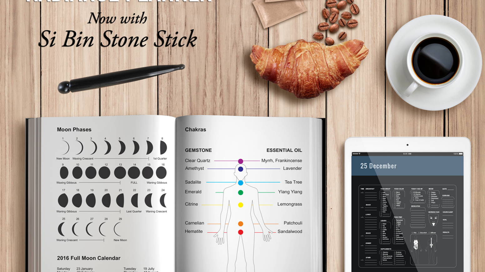 The Most Comprehensive Nutrition and Health Diary with Real Si Bin/Bian Acupressure Stone Stick