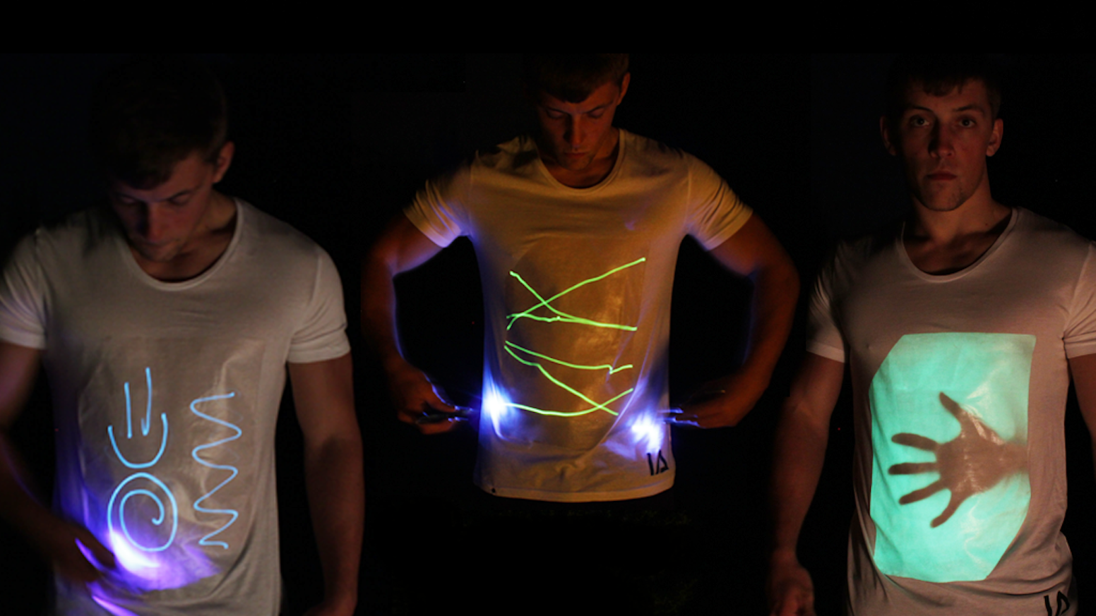 Interactive glow T-shirts with an unlimited drawing canvas. Use any laser pen, mobile phone torch light or UV keyring (included).
