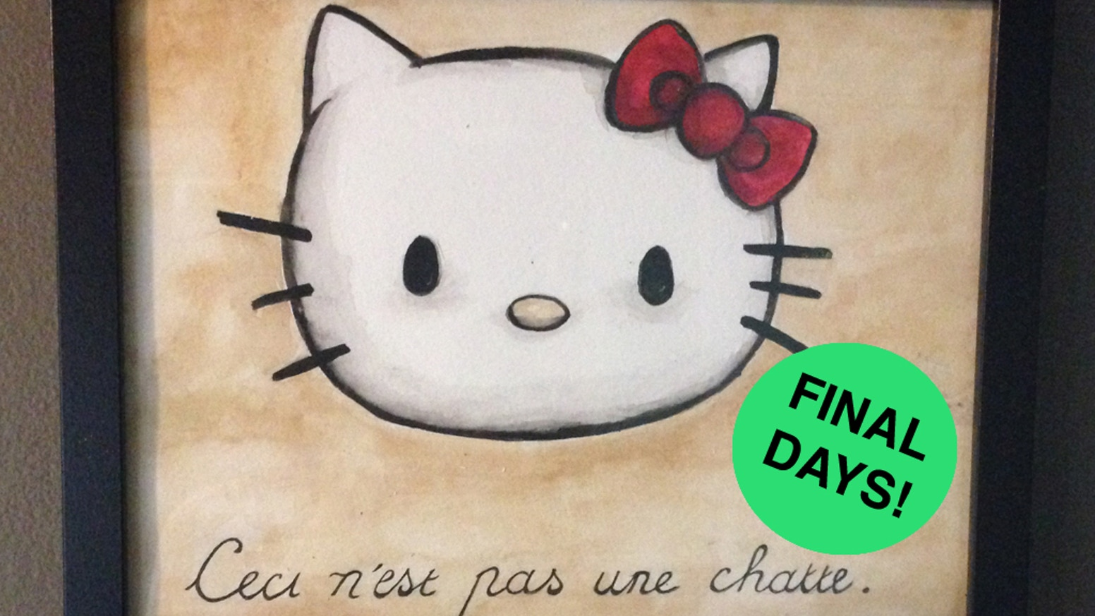 "A parody mash-up watercolor painting of Hello Kitty and René Magritte's ""The Treachery of Images."""