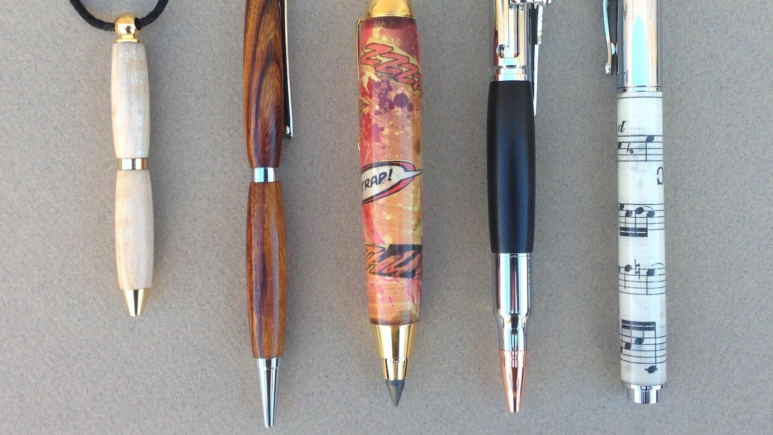 Comic Books + Wood + Sheet Music = Awesome Pens!