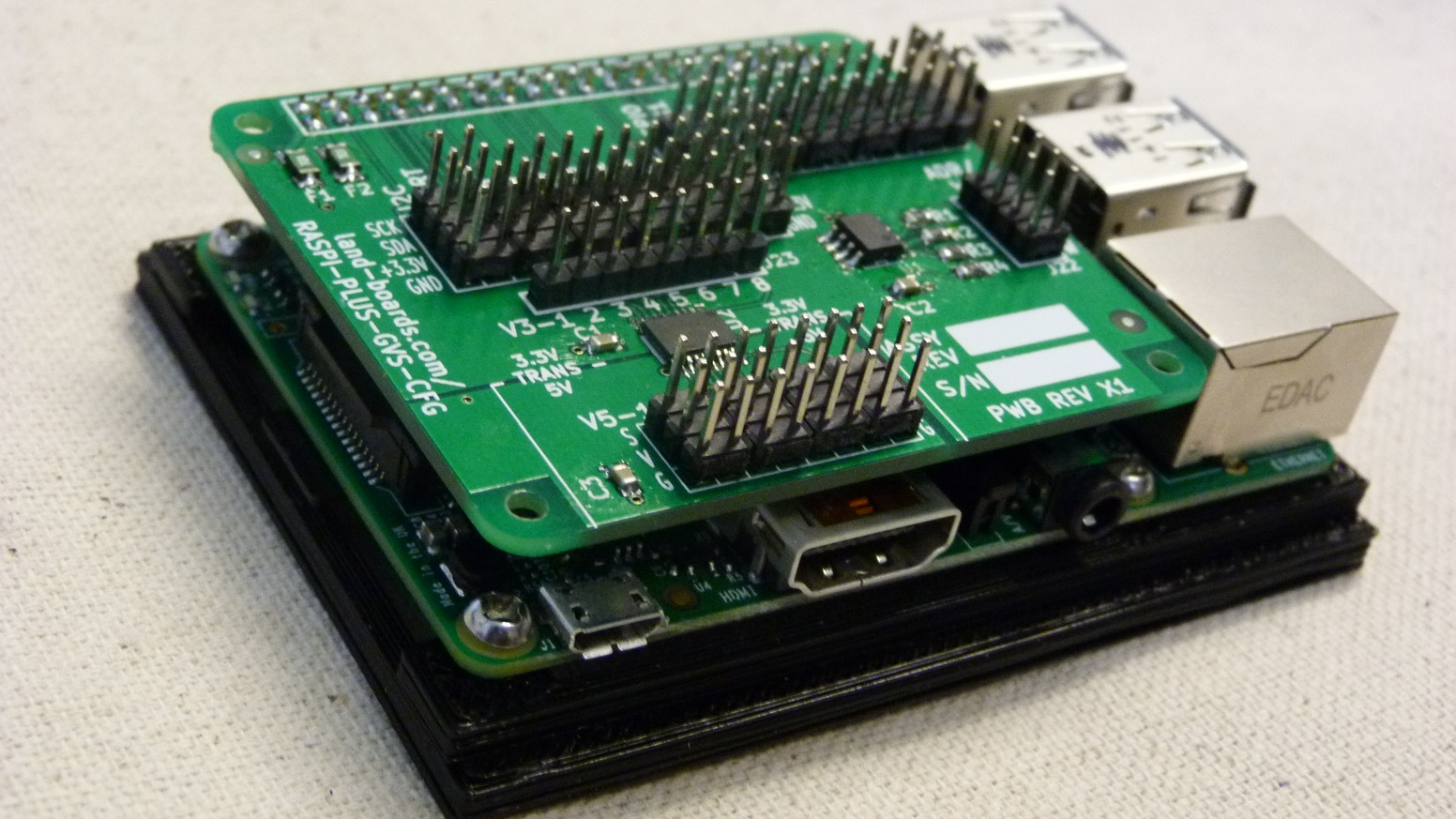 Hat that allows 3.3V and 5V devices to be easily connected to the Raspberry Pi Model B+ and from there onto the Internet of Things