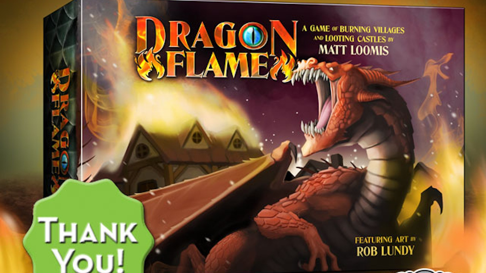 Be a dragon! Loot castles! Burn villages! Battle knights!  Dragonflame is 30-minute card game for 2-5 players with fire in their veins.