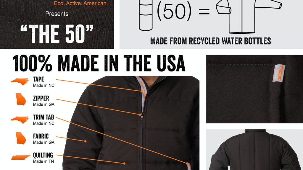 """The 50"" Jacket, Made in the USA From Recycled Water Bottles project video thumbnail"