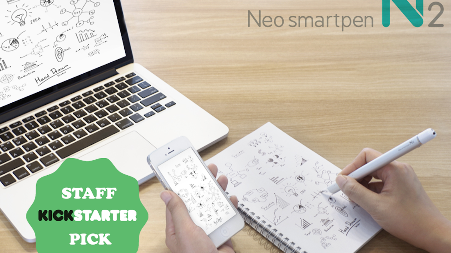 Neo smartpen N2 is a smartpen that writes on paper but also mirrors into smart devices. iOS and Android compatible. Support us!