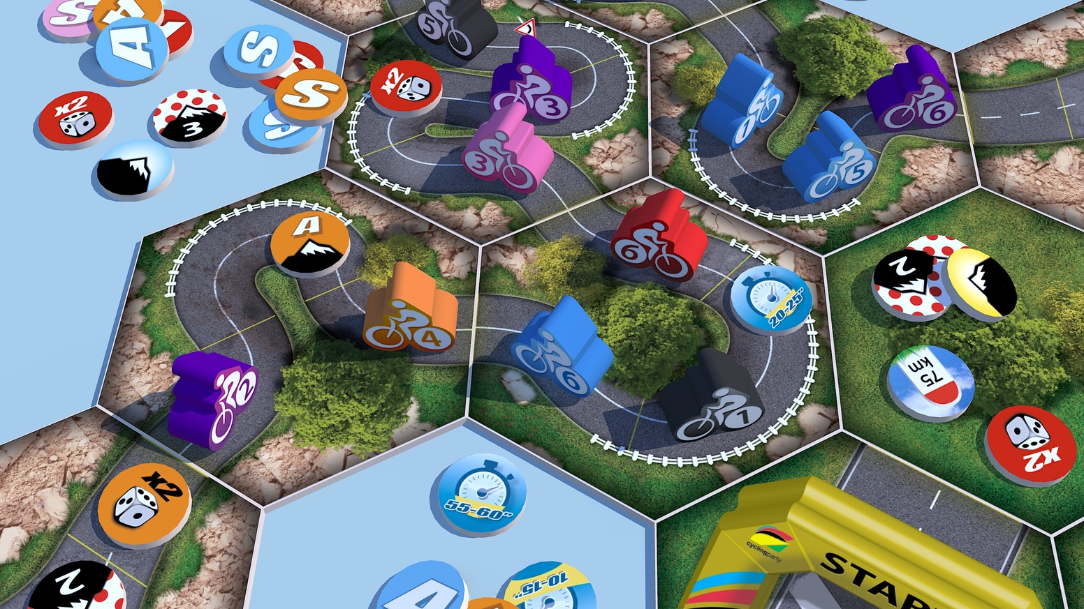 CYCLING PARTY is a board game that brings together the excitement of road cycling as a sport and the enjoyment of strategy games.