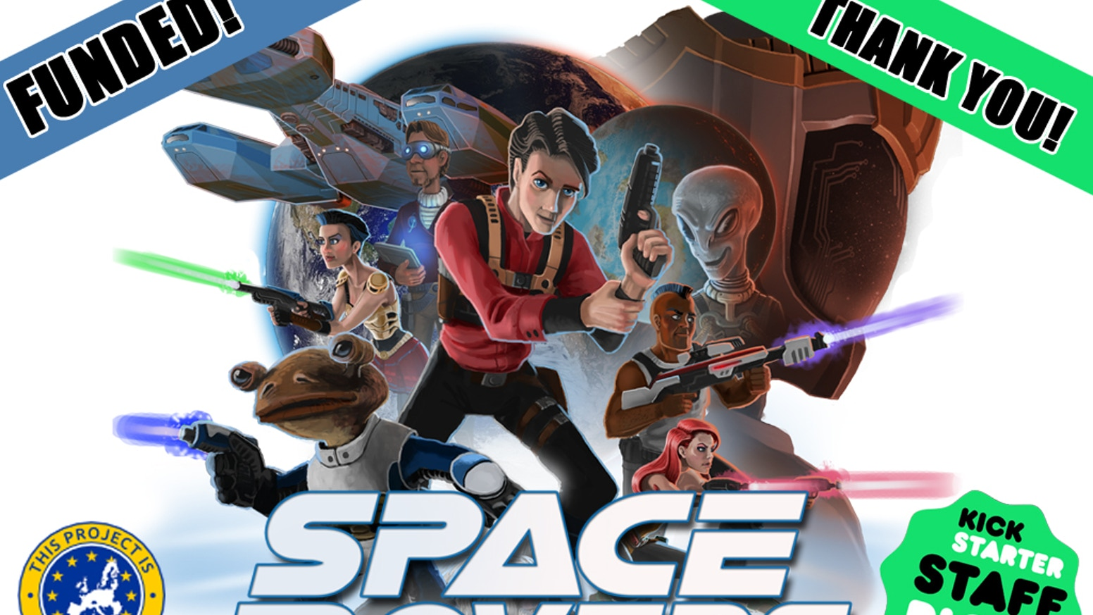 A cooperative Sci-Fi themed tabletop game for 2-7 players. Features an innovative way of rolling dice and comic book to set the tone.