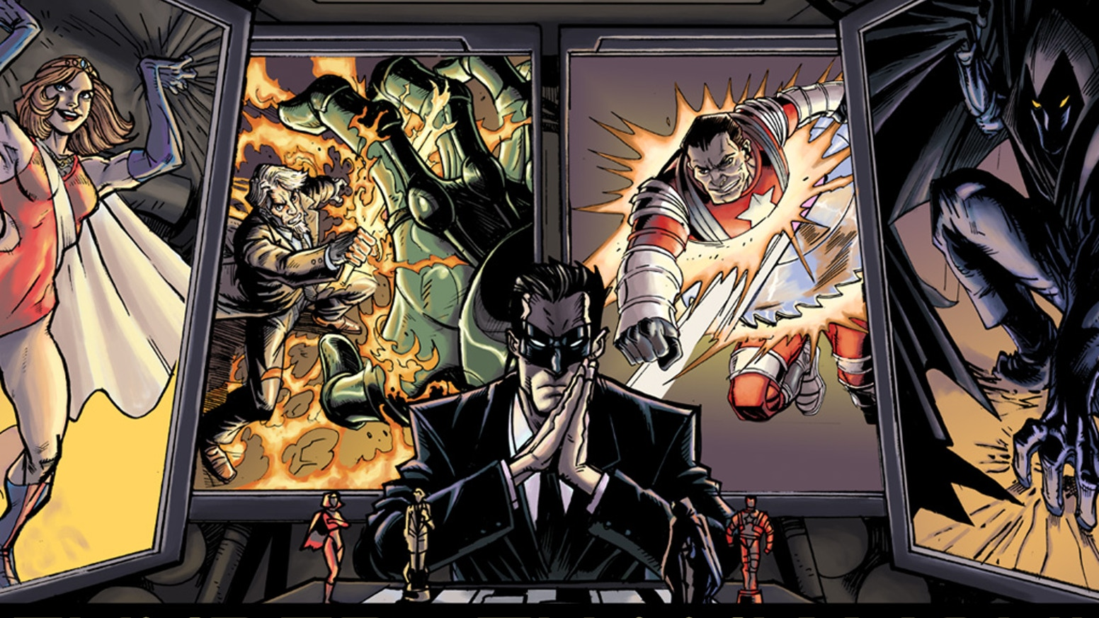 A PvP multi-player superhero themed deckbuilding game, set in the Emergents Universe created by Brian David-Marshall.