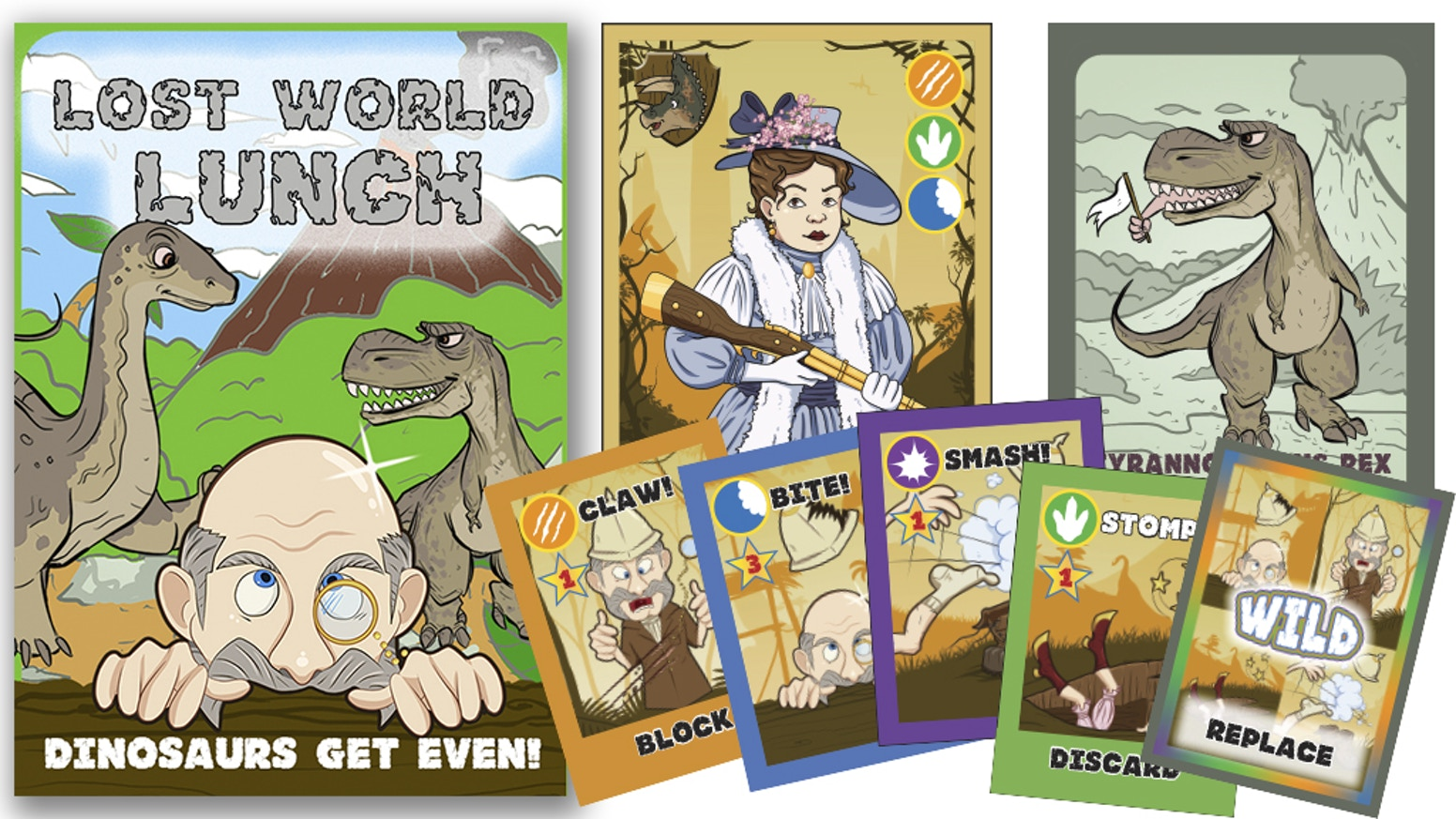 A fast-paced, easy & exciting card game--the dinosaurs turn the tables on bumbling Victorian hunters, putting the hunters on the menu.