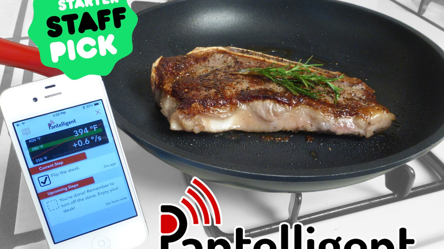 The smart frying pan of the future. Now anyone can cook delicious meals perfectly. The secret ingredient is temperature control.