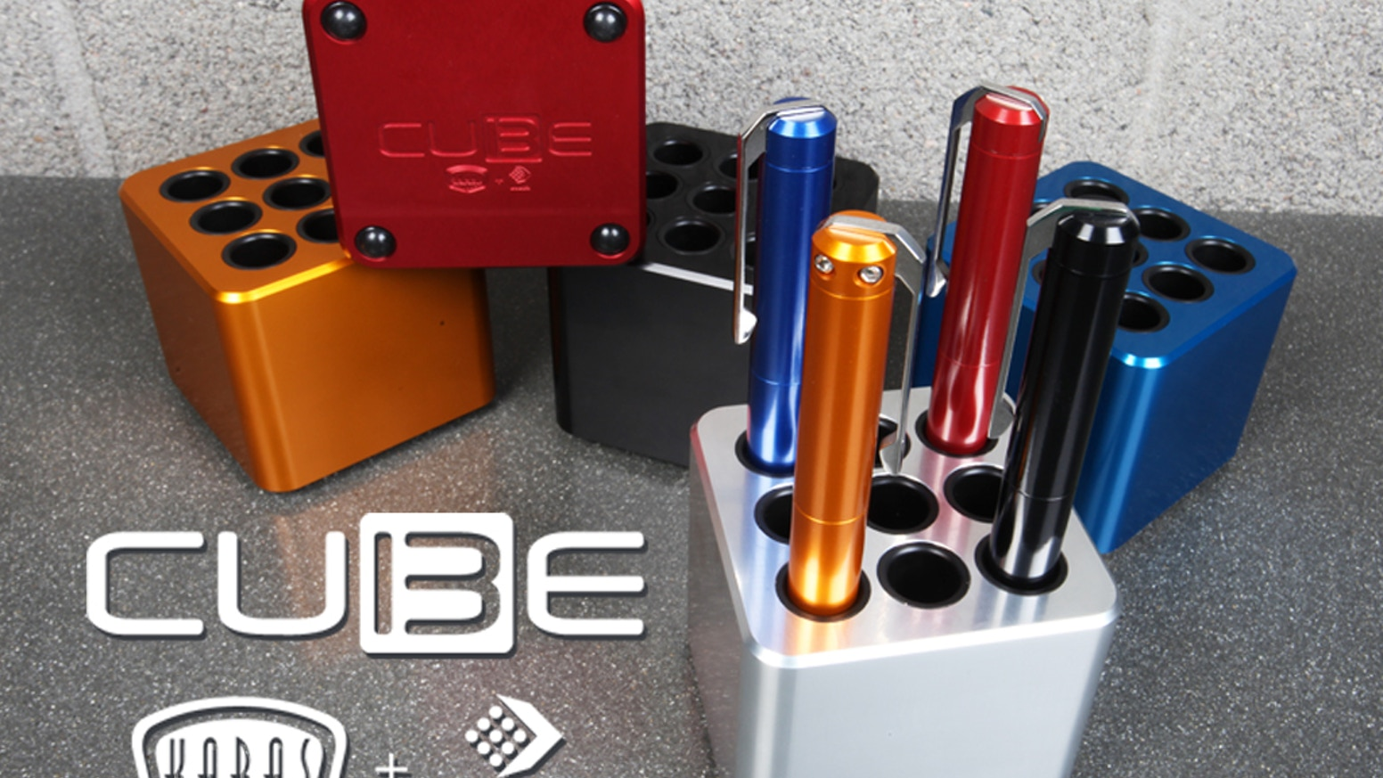 The CUBE is a machined aluminum pen stand with Delrin inserts and custom finishes to display and protect your pen collection.