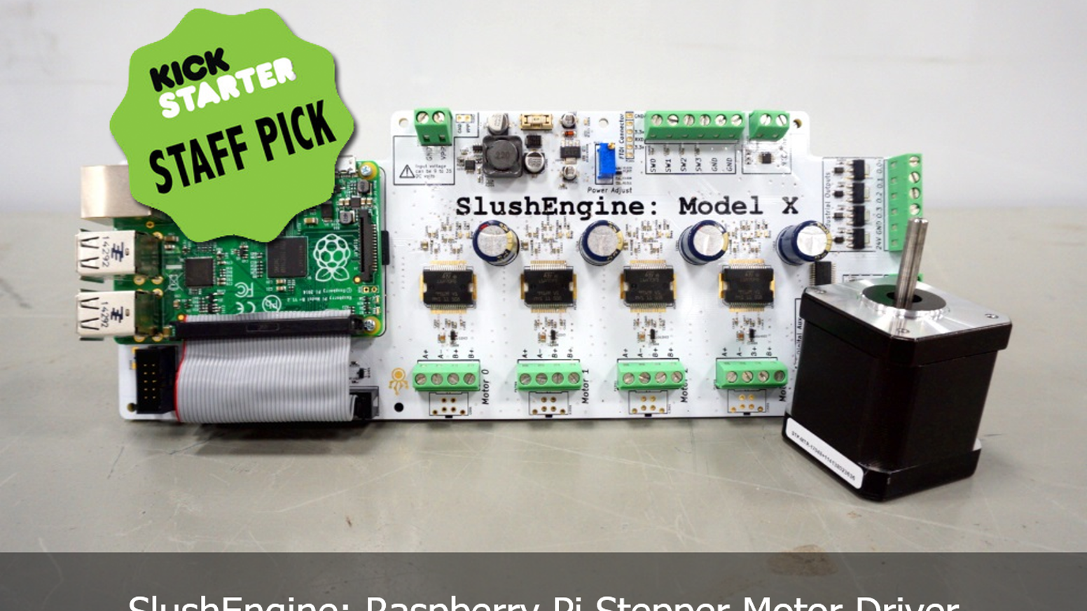 The SlushEngine is an advanced motor driver that works with the Raspberry Pi to move motors with precision, speed, and simplicity.