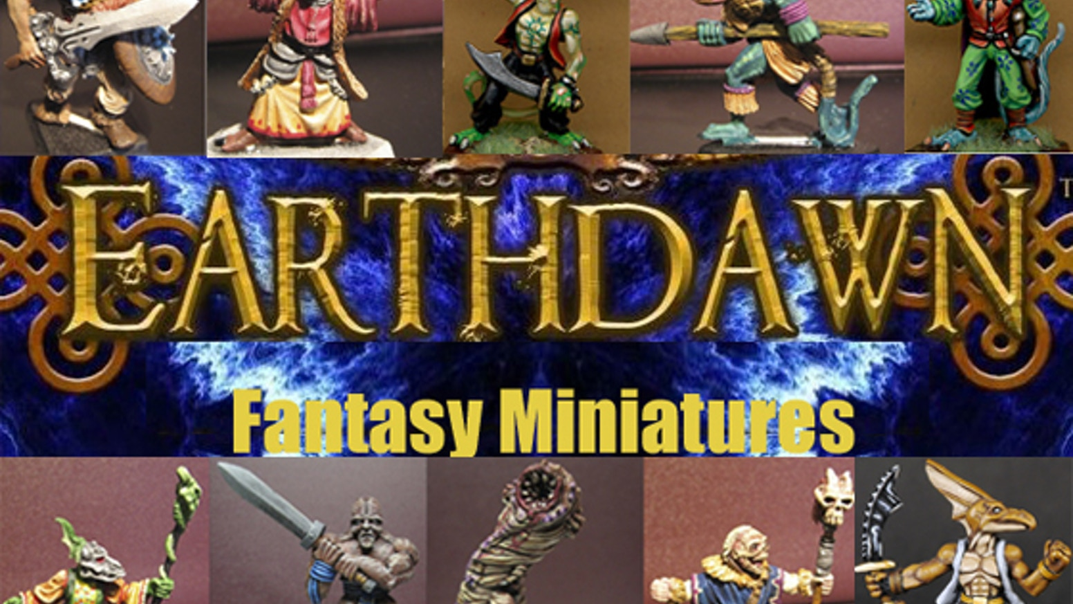 Licenced player character and unique monster miniatures from the Earthdawn fantasy RPG