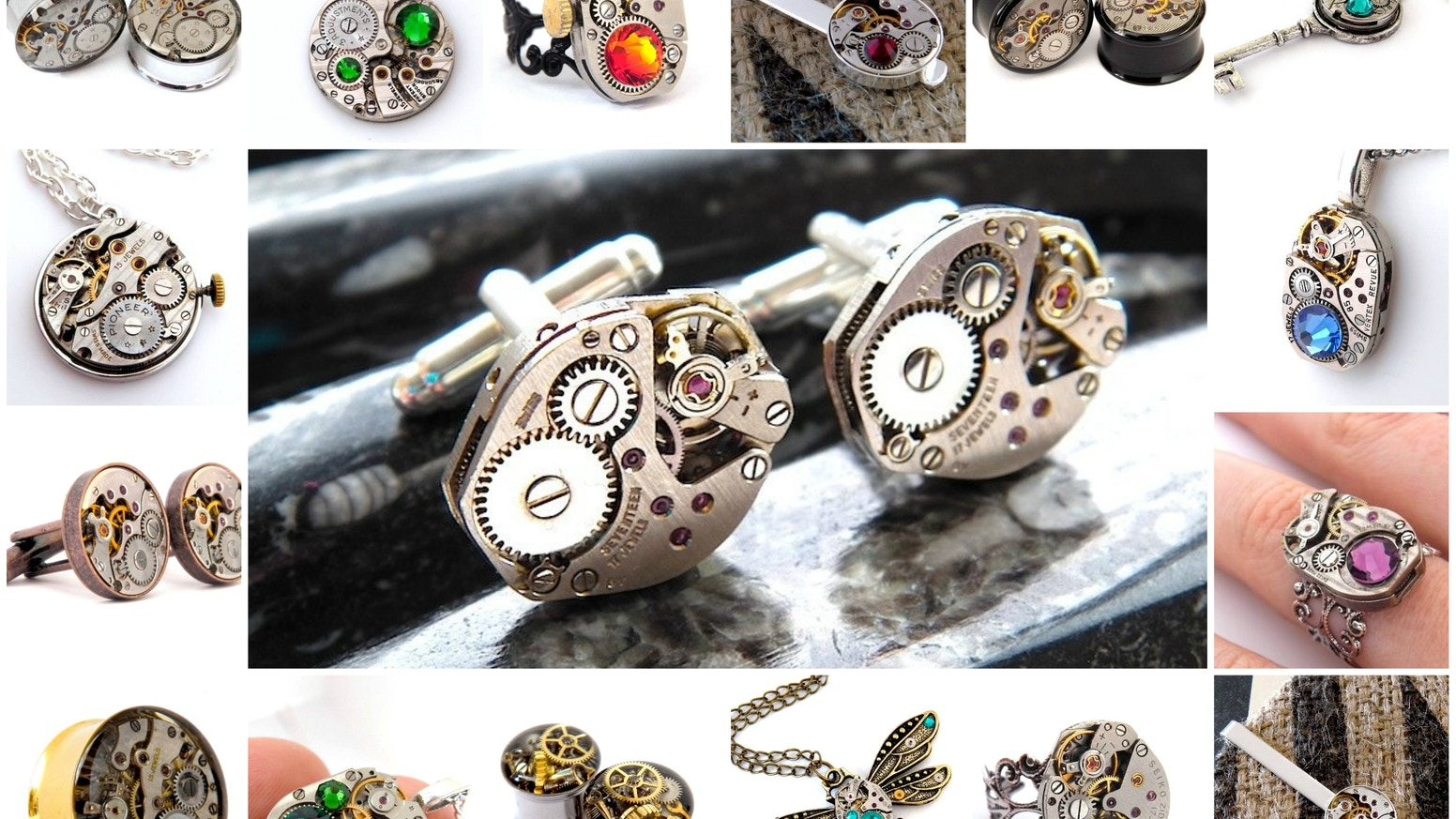 Breathing a new lease of life into vintage watch parts, I create steampunk cufflinks, necklaces, tie clips, earrings, rings and plugs.