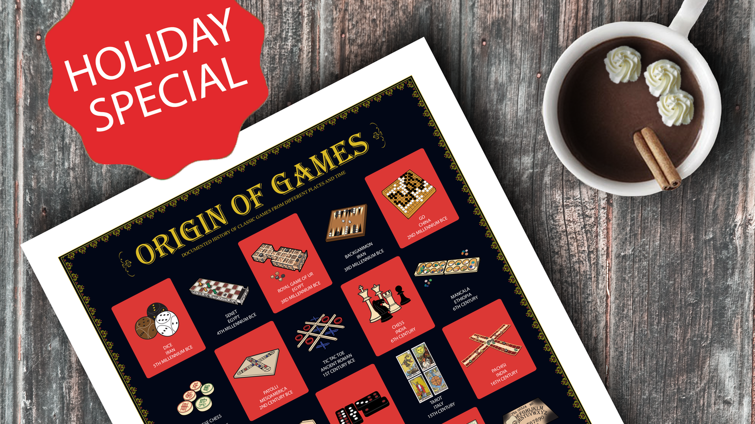 An Infographic poster of 25 Classic Tabletop Games with Documented Origin. Complete Your Collection with Cookie & Tea Posters!