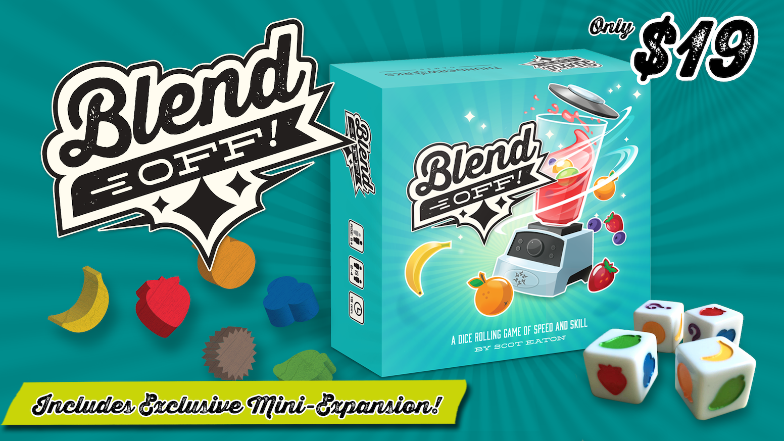 Blend Off! is a dice-rolling game of speed and skill for 2 to 4 players. Master Mixers roll dice to collect fruit and create smoothies!