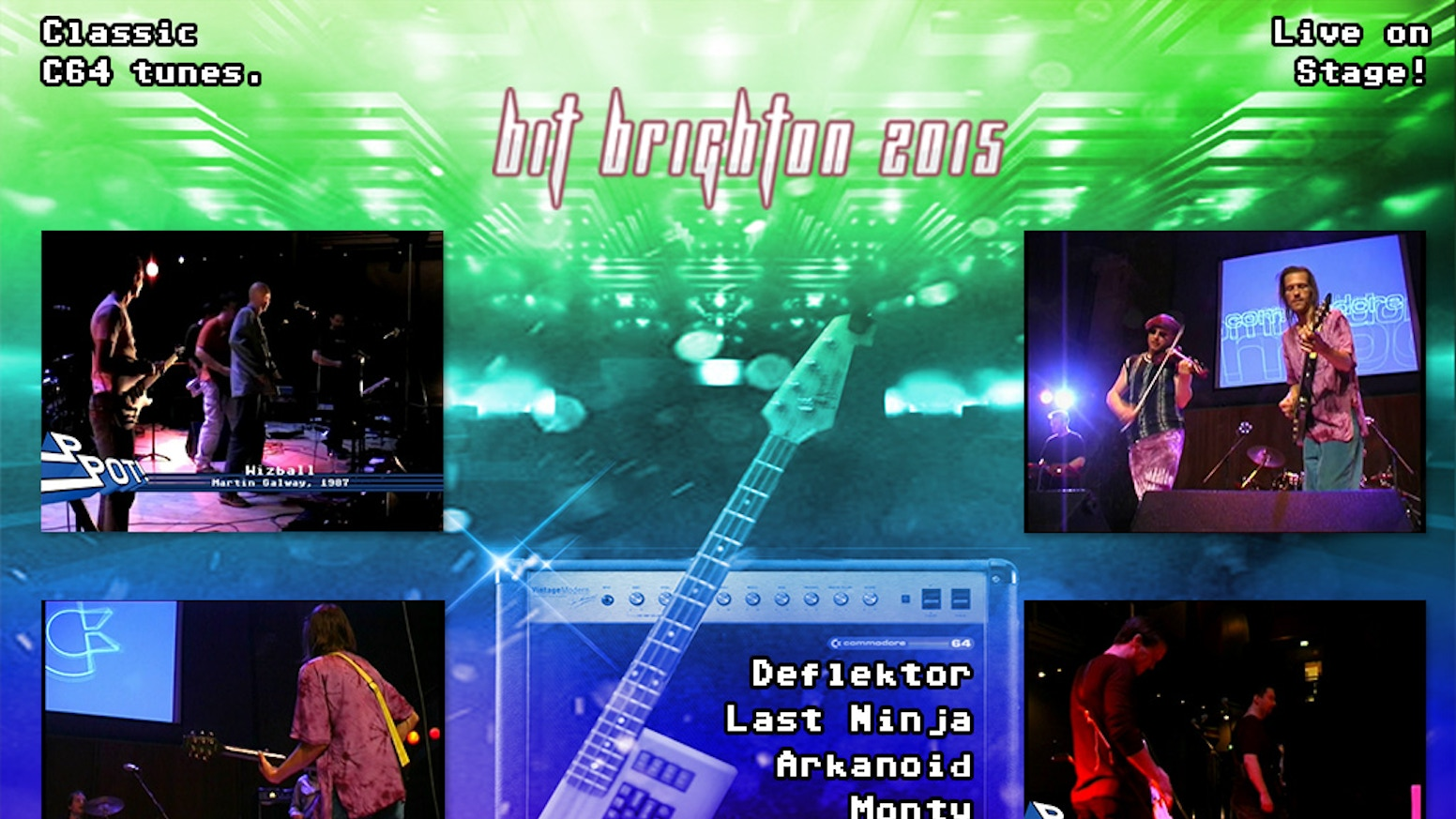 Back in Time Live 2015 Brighton: a live concert of C64 music hosted by Ben Daglish starring SID80s, PPOT, Fastloaders and more.