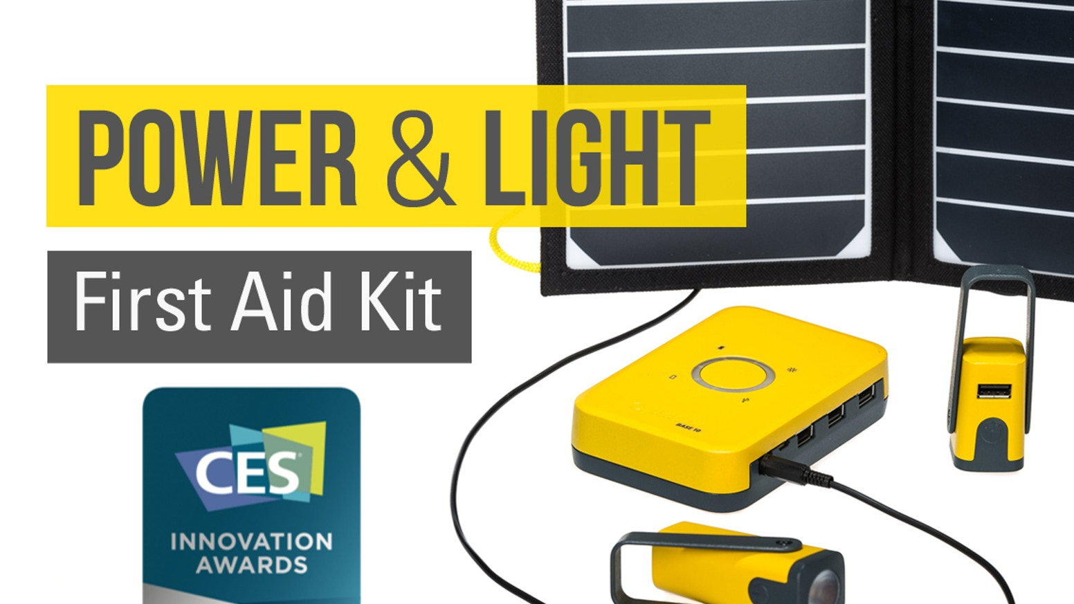 Compact portable solar power kit. A single day of sunlight is enough for multiple phone charges or an entire week of light.